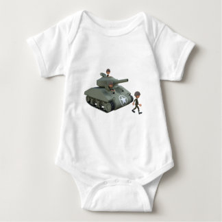 Cartoon Tank and Soldiers Going Forward