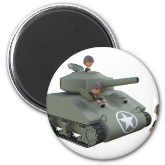 Cartoon Tank and Soldiers Going Forward 2 Inch Round Magnet
