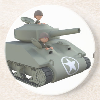 Cartoon Tank and Soldiers Going Forward Beverage Coasters