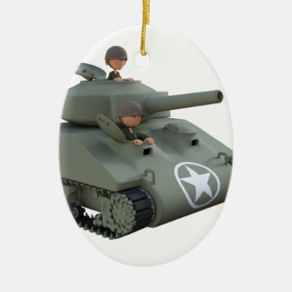 Cartoon Tank and Soldiers Going Forward Ceramic Ornament