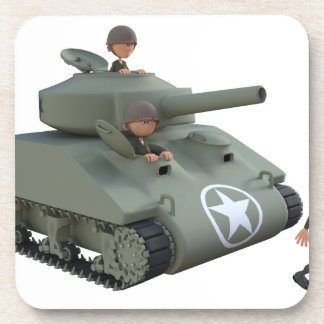 Cartoon Tank and Soldiers Going Forward Coasters