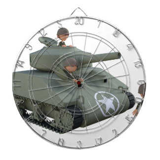 Cartoon Tank and Soldiers Going Forward Dartboard