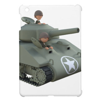 Cartoon Tank and Soldiers Going Forward iPad Mini Cover