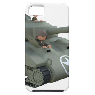 Cartoon Tank and Soldiers Going Forward iPhone 5 Cases