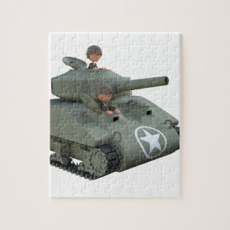 Cartoon Tank and Soldiers Going Forward Jigsaw Puzzle