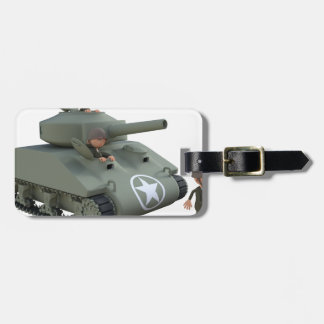 Cartoon Tank and Soldiers Going Forward Luggage Tag