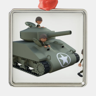 Cartoon Tank and Soldiers Going Forward Metal Ornament