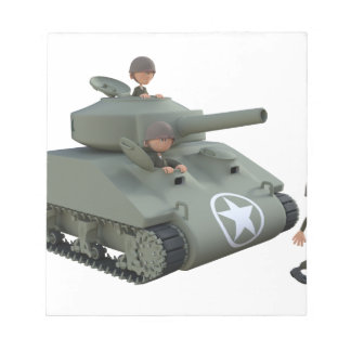 Cartoon Tank and Soldiers Going Forward Notepad