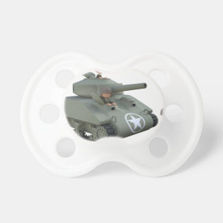 Cartoon Tank and Soldiers Going Forward Pacifier