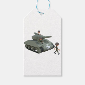 Cartoon Tank and Soldiers Going Forward Pack Of Gift Tags