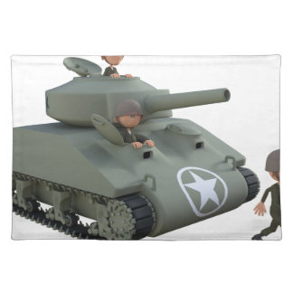 Cartoon Tank and Soldiers Going Forward Placemat