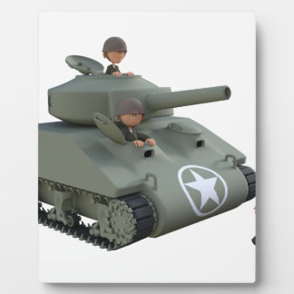Cartoon Tank and Soldiers Going Forward Plaque