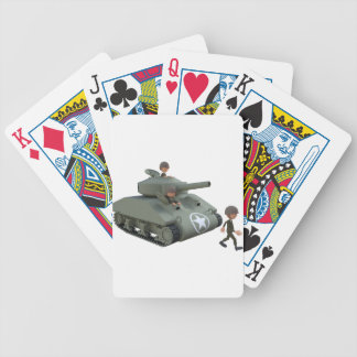 Cartoon Tank and Soldiers Going Forward Poker Deck
