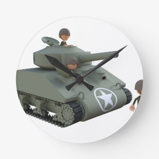 Cartoon Tank and Soldiers Going Forward Round Clock