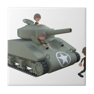 Cartoon Tank and Soldiers Going Forward Tile