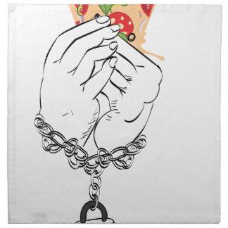 Cartoon Tasty Pizza and Hands2 Napkin