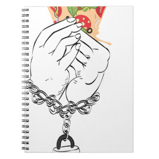 Cartoon Tasty Pizza and Hands2 Notebook