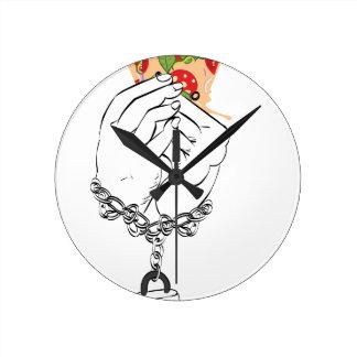 Cartoon Tasty Pizza and Hands2 Round Clock