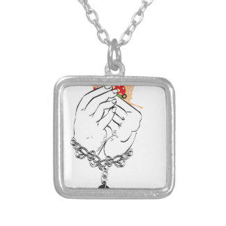 Cartoon Tasty Pizza and Hands2 Silver Plated Necklace