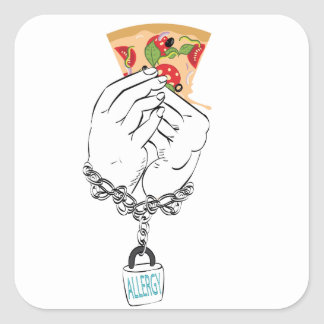 Cartoon Tasty Pizza and Hands2 Square Sticker