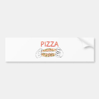 Cartoon Tasty Pizza and Hands3 Bumper Sticker
