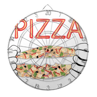 Cartoon Tasty Pizza and Hands3 Dartboard
