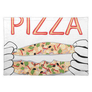 Cartoon Tasty Pizza and Hands3 Placemat
