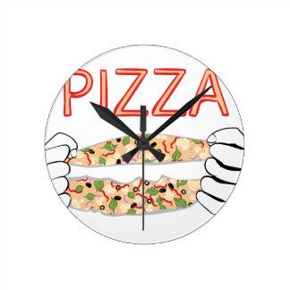Cartoon Tasty Pizza and Hands3 Round Clock