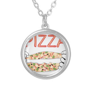 Cartoon Tasty Pizza and Hands3 Silver Plated Necklace