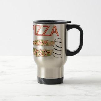Cartoon Tasty Pizza and Hands3 Travel Mug
