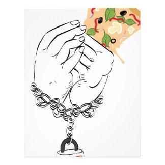 Cartoon Tasty Pizza and Hands Letterhead