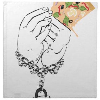 Cartoon Tasty Pizza and Hands Napkin