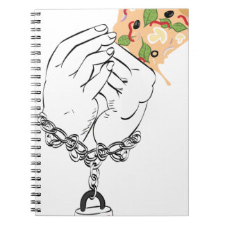 Cartoon Tasty Pizza and Hands Notebook