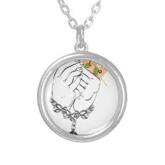 Cartoon Tasty Pizza and Hands Silver Plated Necklace