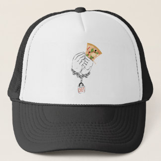 Cartoon Tasty Pizza and Hands Trucker Hat