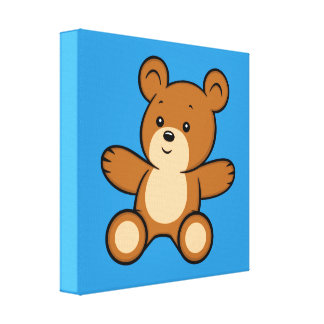 Cartoon Teddy Bear Canvas Print