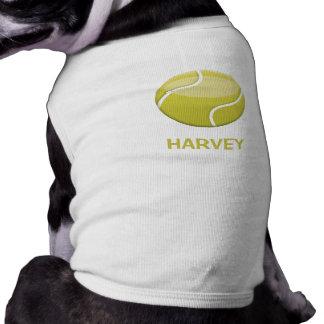 Cartoon Tennis Ball And Pet's Name Doggie T-shirt