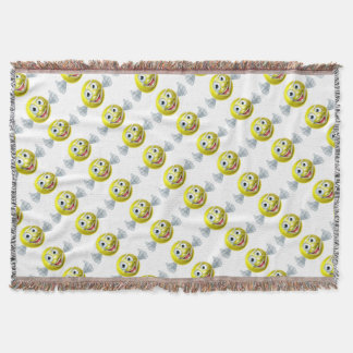 Cartoon Tennis Ball Man Throw Blanket