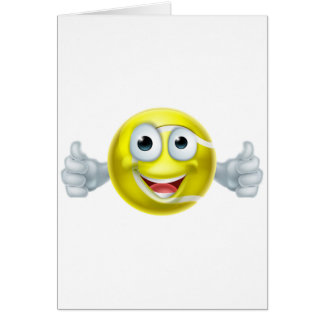 Cartoon Tennis Ball Thumbs Up Man Character Card