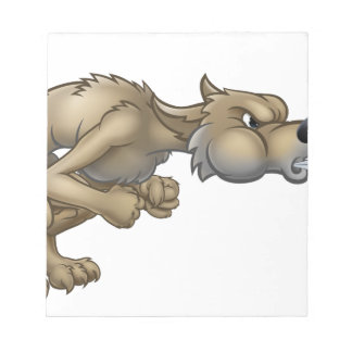 Cartoon Three Little Pigs Big Bad Wolf Blowing Notepad