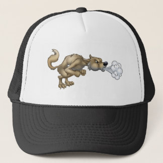 Cartoon Three Little Pigs Big Bad Wolf Blowing Trucker Hat