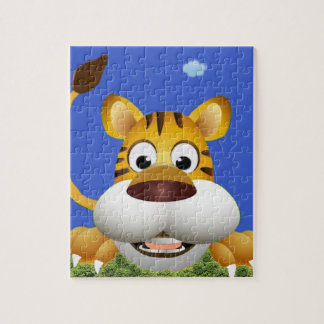 Cartoon Tiger By The Tail. Jigsaw Puzzle