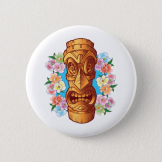 Cartoon Tiki Statue 2 Inch Round Button