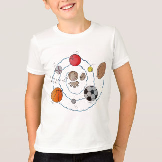 Cartoon toddler boy dreaming of sport's balls T-Shirt