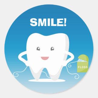 Cartoon Tooth, Floss Dental Sticker