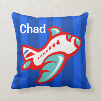 Cartoon Toy Airplane | red blue Throw Pillow