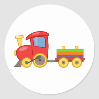 Cartoon Train Classic Round Sticker