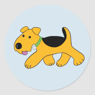 Cartoon Trotting Airedale Puppy Dog Sticker
