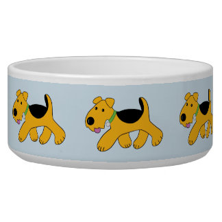 Cartoon Trotting Airedale Terrier Puppy Pet Bowl