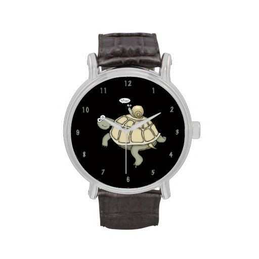"Cartoon turtle and snail ""Whee!"" watch"